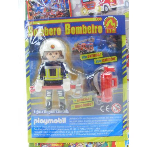 PLAYMOBIL REVISTA PLAYMOBIL BLUE Nº40 BOMBERO CON HACHA Y EXTINTOR [1]