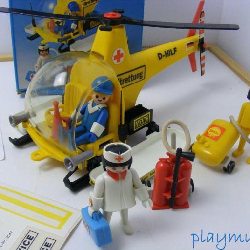 PLAYMOBIL 3247 HELICOPTERO DE RESCATE  PRIMERA EPOCA VERSION 1 (1977-1981) [1]