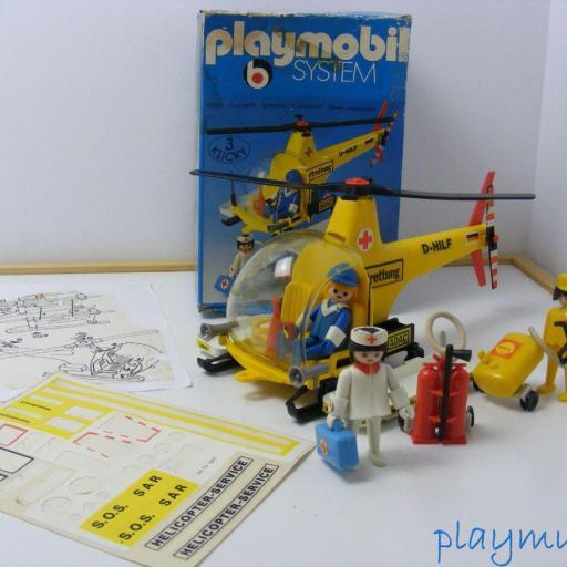 PLAYMOBIL 3247 HELICOPTERO DE RESCATE  PRIMERA EPOCA VERSION 1 (1977-1981)