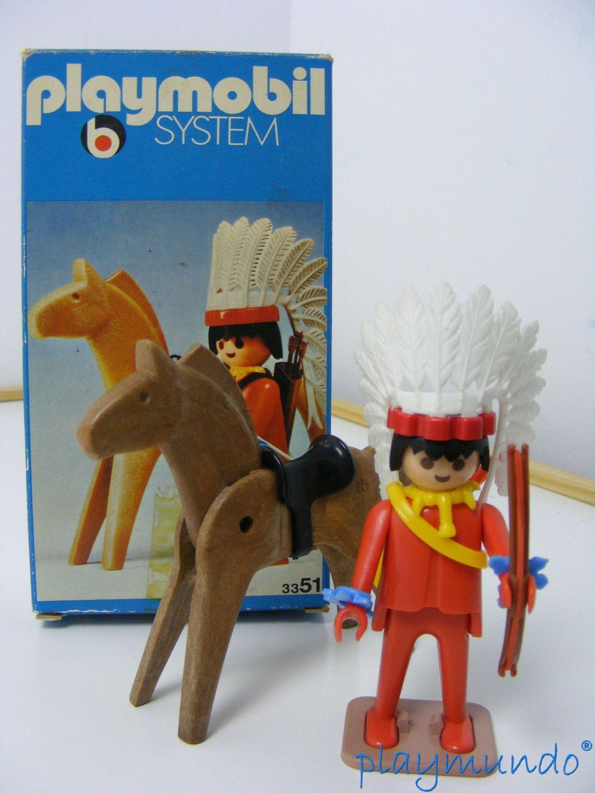 PLAYMOBIL 3351 JEFE INDIO OESTE WESTERN (AÑO 1975) VERSION 1