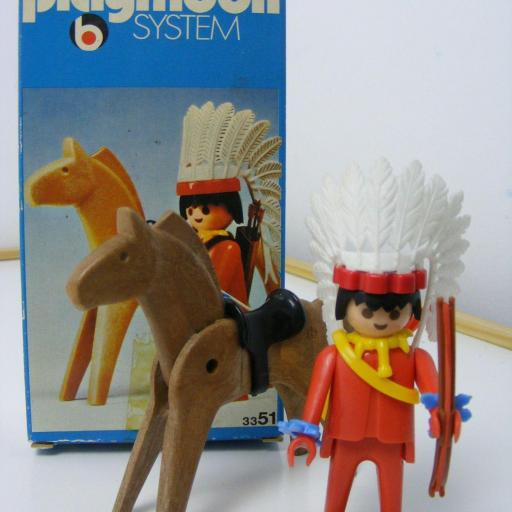 PLAYMOBIL 3351 JEFE INDIO OESTE WESTERN (AÑO 1975) VERSION 1