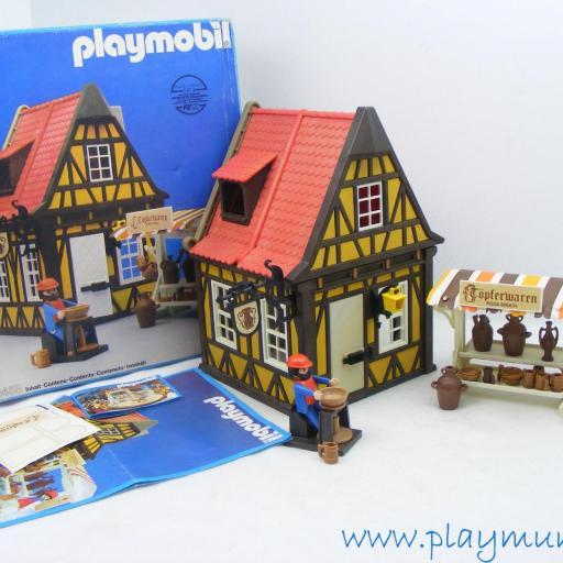 PLAYMOBIL 3455 ALFARERIA MEDIEVAL CON PUESTO (AÑO 1982 - 1993)