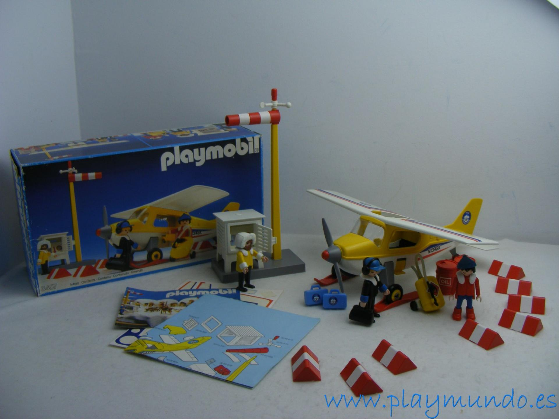 PLAYMOBIL 3457 AVION EXPEDICION POLO NORTE AVIONETA SKIS ESTACION  (AÑO 1986 - 1990)