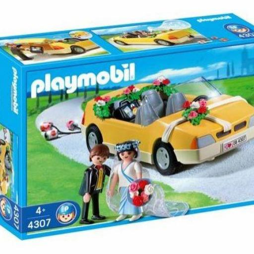 PLAYMOBIL 4307 NOVIOS EN CON COCHE DE BODAS (AÑO 2008)