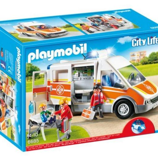 PLAYMOBIL 6685  AMBULANCIA CON LUCES Y SONIDO