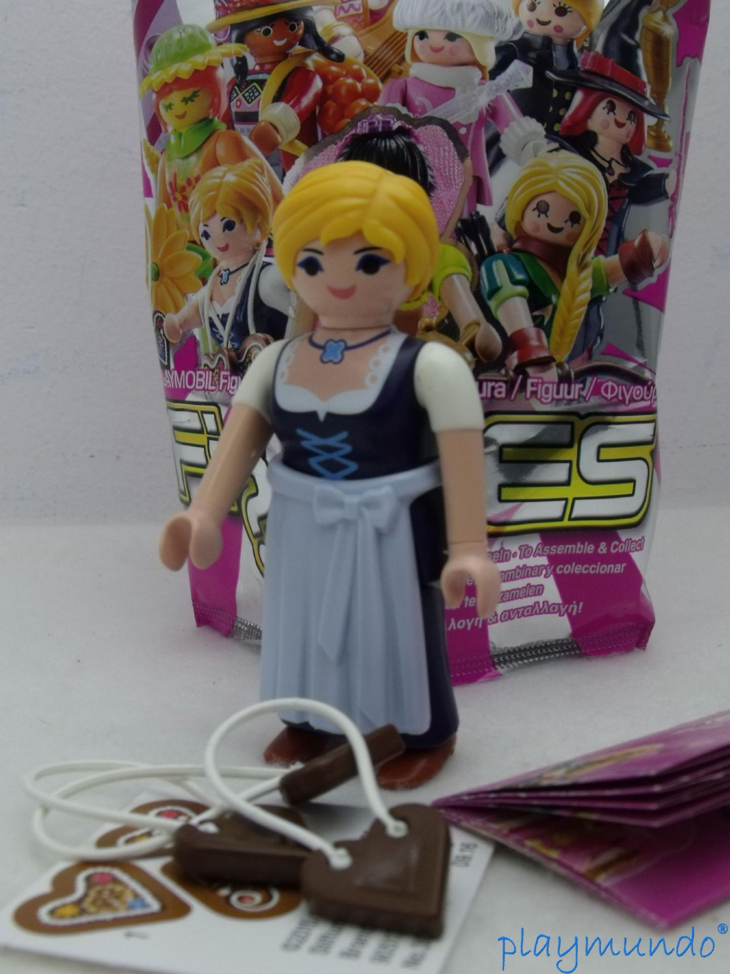 PLAYMOBIL SERIE 11 CHICAS CAMPESINA SUIZA CORAZONES CHOCOLATE