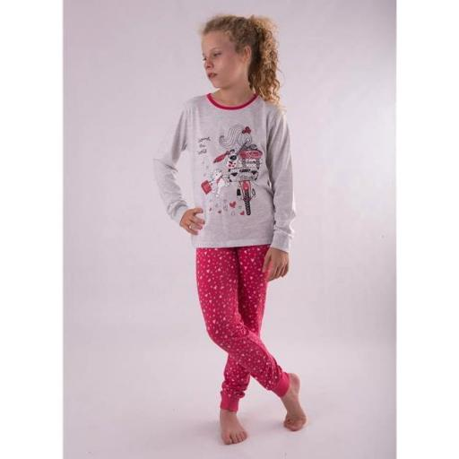 "PIJAMA NIÑA M/LARGA ALGODÓN FINO ""ARROUND THE WORLD"""