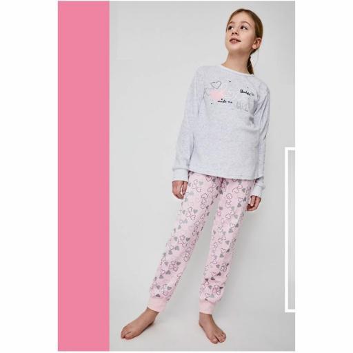 Pijama terciopelo para niña adolescente de Tobogan 21228301.jpg