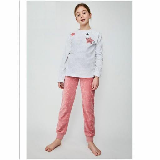 Pijama terciopelo para niña adolescente de Tobogan 21228309.jpg