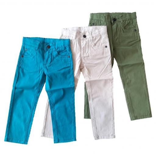 Newness Pantalón niño loneta fina colores