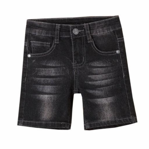 Newness Pantalón corto niño vaquero negro desgastado JBV51260.jpg
