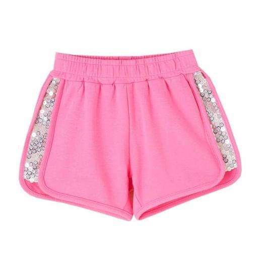 Newness Pantalón corto short niña algodón rosa chicle JGV61779.jpg