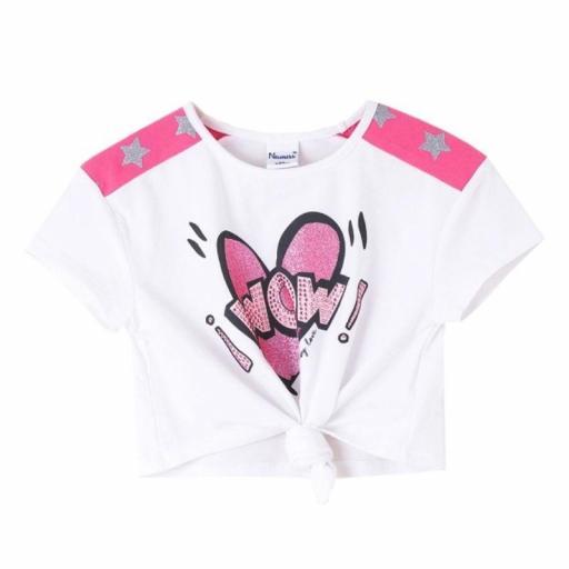 Newness Camiseta niña verano manga corta purpurina JGV61794.jpg