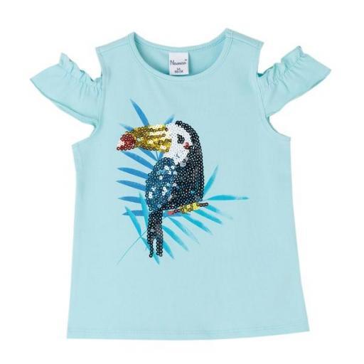 Newness Camiseta niña verano sin mangas y lentejuelas JGV61855.jpg