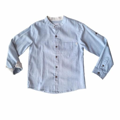 Camisa niño Newness cuello mao KBV07407 AZUL.jpg