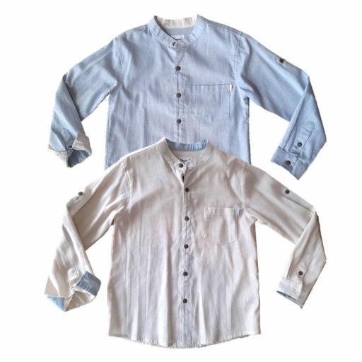 Newness Camisa niño vestir manga larga cuello mao .jpg