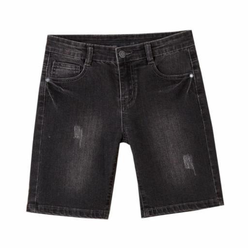 Newness Pantalón corto niño vaquero negro desgastado KBV51420.jpg