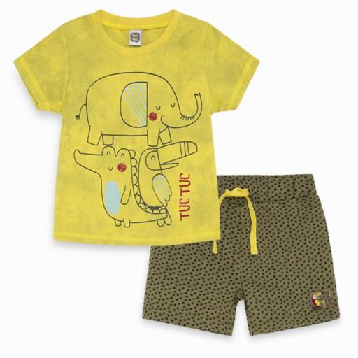 CONJUNTO CAMISETA + BERMUDA PUNTO NIÑO TROPICAL JUNGLE