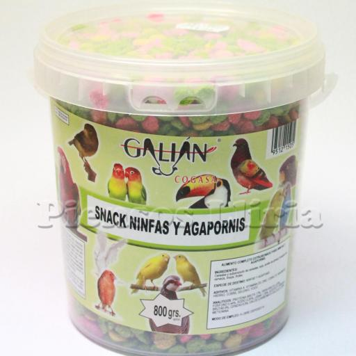 snack ninfas y agapornis cubo 800gr