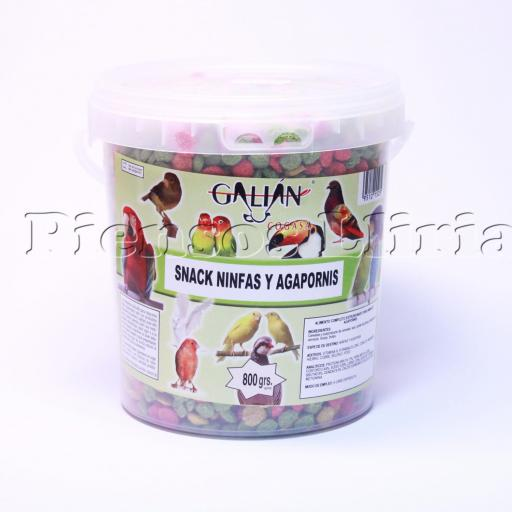 snack ninfas y agapornis cubo 800gr.