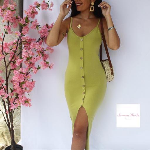 Vestido Botones Verde [2]