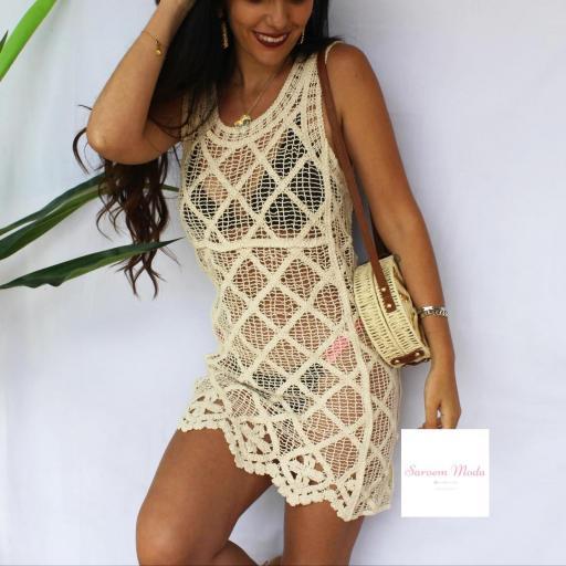 Vestido Crochet Beige
