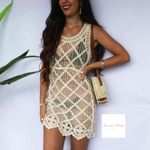 Vestido Crochet Beige [2]