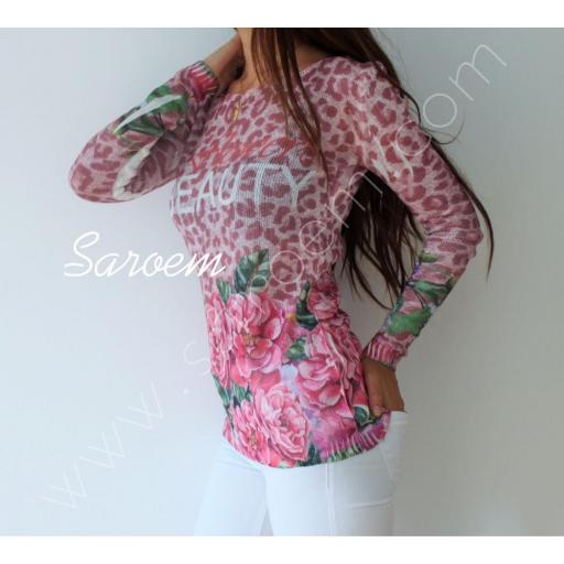 Jersey Flores Rosa
