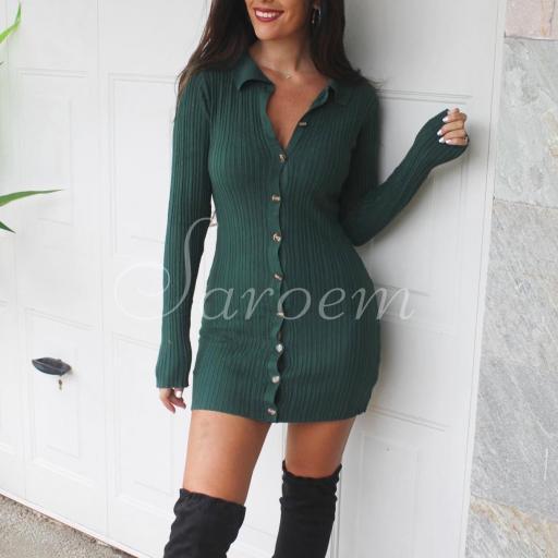 Vestido Cárdigan Punto Verde [1]