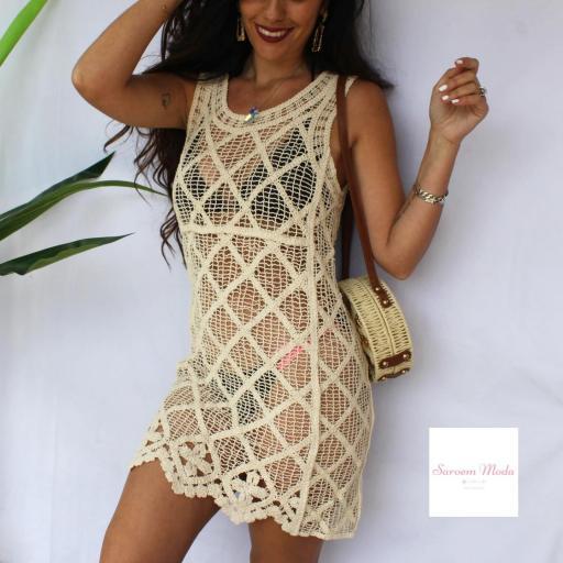 Vestido Crochet Beige [1]