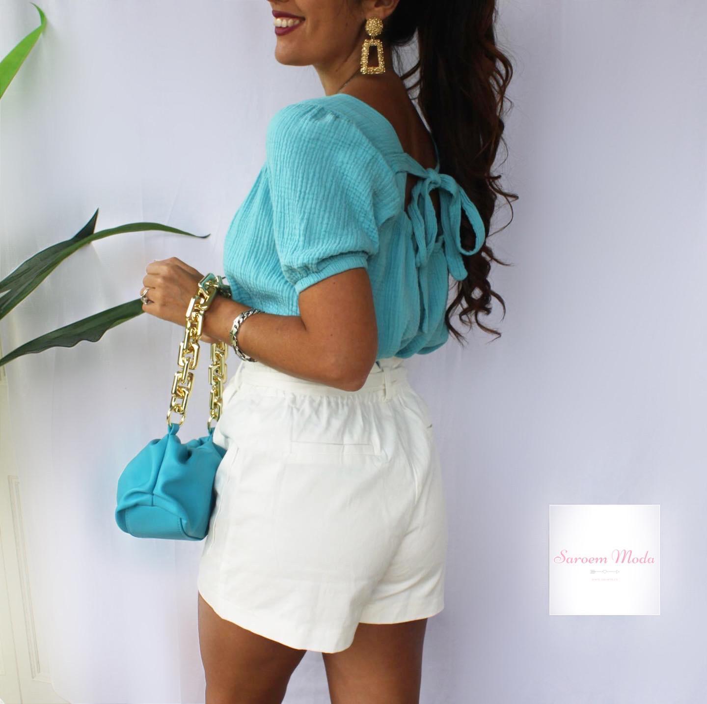 Blusa Lazada Espalda Azul