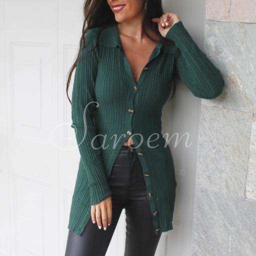 Vestido Cárdigan Punto Verde