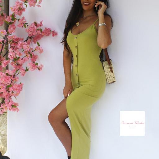 Vestido Botones Verde [1]