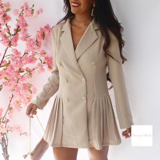 Vestido Tableado Beige [1]