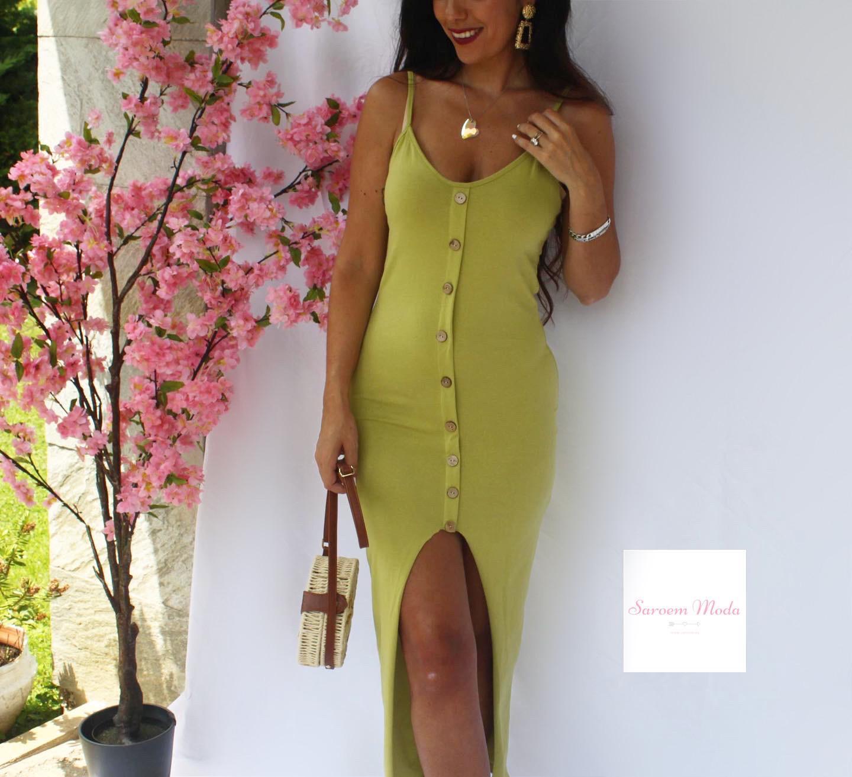 Vestido Botones Verde