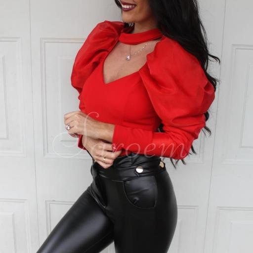 Blusa Volumen Roja [0]
