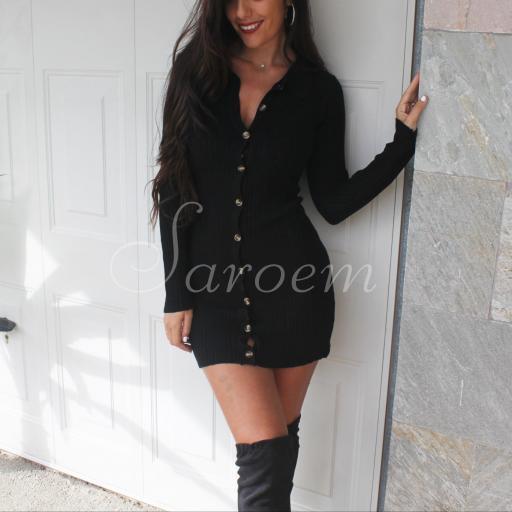 Vestido Cárdigan Punto Negro
