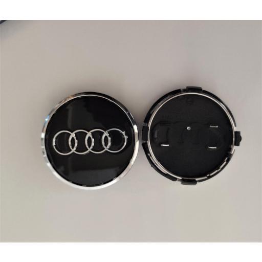 """61 x 57 mm. Tapa Buje Rueda """"Audi""""   Color  NEGRO Ref. 4M0 601 170   o   8W0 601 170 [2]"""