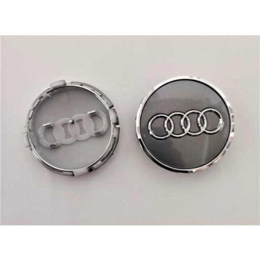 """61 x 57 mm. Tapa Buje Rueda """"Audi""""   Color  PLATA Ref. 4M0 601 170  o   8W0 601 170 [2]"""