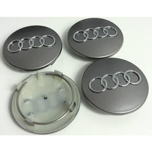 """68 x 56 mm. Tapa Buje Rueda """"Audi""""   Color  PLATA Ref.  8D0 601 170   [1]"""