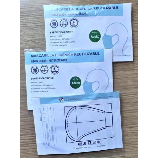 "Mascarilla marca ""La Vespita""   C/Blanco,  Algodon 100%  Tejido Antibacteriano Inteligente [2]"