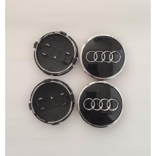 """61 x 57 mm. Tapa Buje Rueda """"Audi""""   Color  NEGRO Ref. 4M0 601 170   o   8W0 601 170 [1]"""
