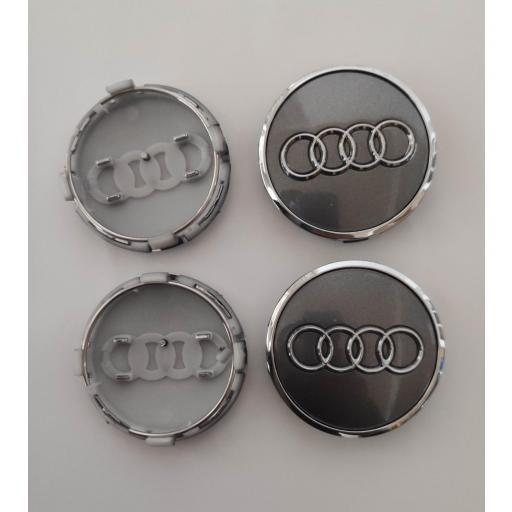 """61 x 57 mm. Tapa Buje Rueda """"Audi""""   Color  PLATA Ref. 4M0 601 170  o   8W0 601 170 [3]"""