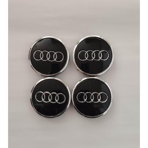 """61 x 57 mm. Tapa Buje Rueda """"Audi""""   Color  NEGRO Ref. 4M0 601 170   o   8W0 601 170 [3]"""