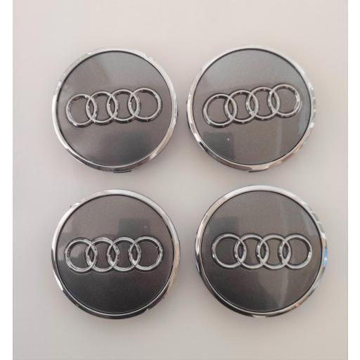 """61 x 57 mm. Tapa Buje Rueda """"Audi""""   Color  PLATA Ref. 4M0 601 170  o   8W0 601 170"""