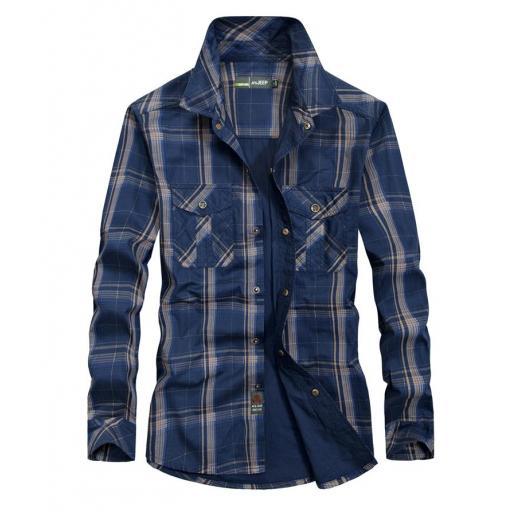 Camisa  Sport,  Cuadros C/Azul Marino  M/L  100% Algodon  Especial:  Caza, Off-Road, Senderismo, Pesca, Etc...