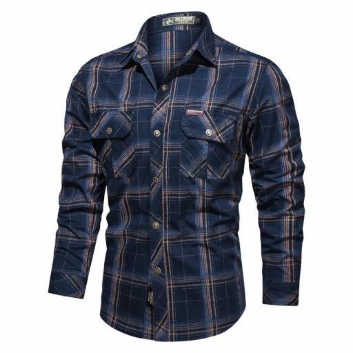 Camisa  Sport,  Cuadros C/Azul Marino  M/L  100% Algodon  Especial:  Caza, Off-Road, Senderismo, Pesca, Etc... [1]