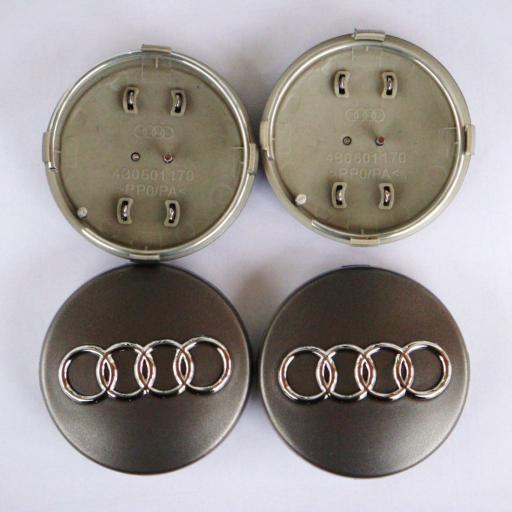"60 x 56 mm. Tapa Buje Rueda ""Audi""   Color  Gris Oscuro  Diametro: Exterior 60mm. Interior 56mm."" [1]"