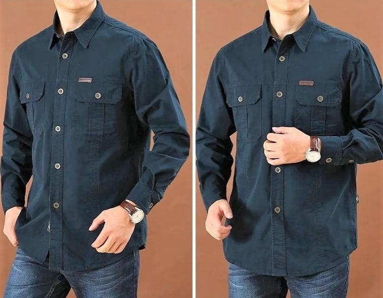Camisa  Sport C/Azul Marino  M/L  100% Algodon  Especial:  Caza, Off-Road, Senderismo, Pesca, Etc...