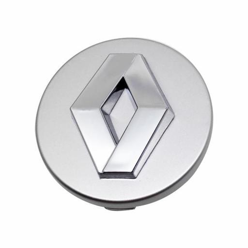 """Tapa  57 mm. Buje  Rueda  """"Renault"""" Color Plata  [1]"""